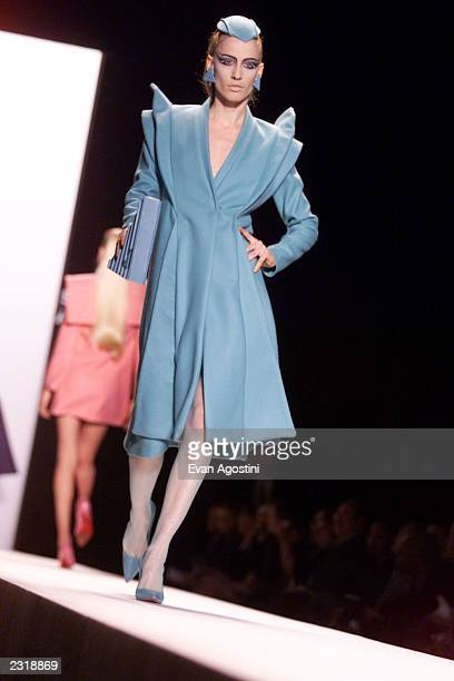 Model walks the runway at the Jeremy Scott Fall 2002 fashion show at Bryant Park during the Mercedes-Benz Fashion Week. Feb. 15, 2002. Photo: Evan...