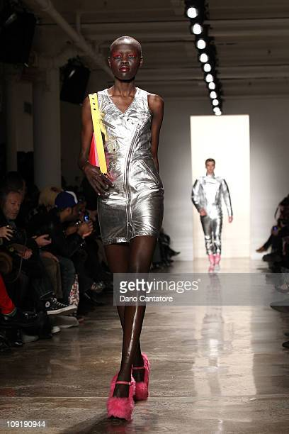 A model walks the runway at the Jeremy Scott Fall 2011 fashion show during MercedesBenz Fashion Week at Milk Studios on February 16 2011 in New York...