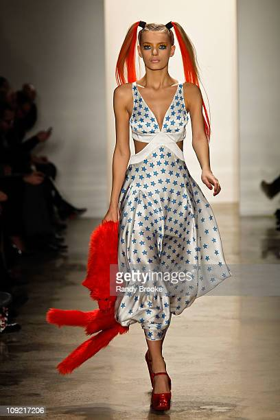 Model walks the runway at the Jeremy Scott Fall 2011 fashion show during Mercedes-Benz Fashion Week at Milk Studios on February 16, 2011 in New York...