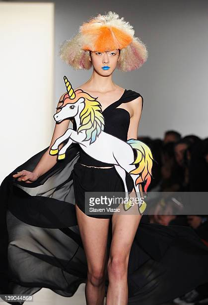 A model walks the runway at the Jeremy Scott fall 2012 fashion show during MercedesBenz Fashion Week at Milk Studios on February 15 2012 in New York...