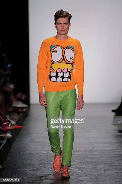 Model walks the runway at the Jeremy Scott Runway Spring 2016 New York Fashion Week: The Shows at The Arc, Skylight at Moynihan Station on September...