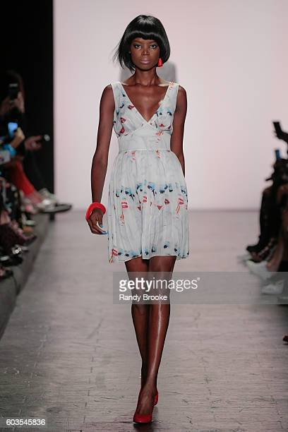 Model walks the runway at the Jeremy Scott Spring 2017 show September 2016 during New York Fashion Week at The Arc, Skylight at Moynihan Station on...