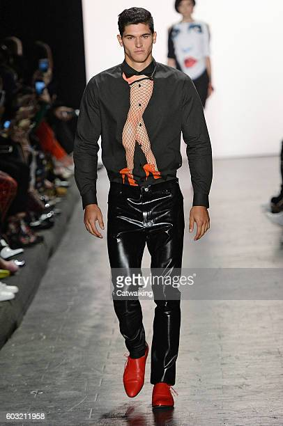 Model walks the runway at the Jeremy Scott Spring Summer 2017 fashion show during New York Fashion Week on September 12, 2016 in New York, United...