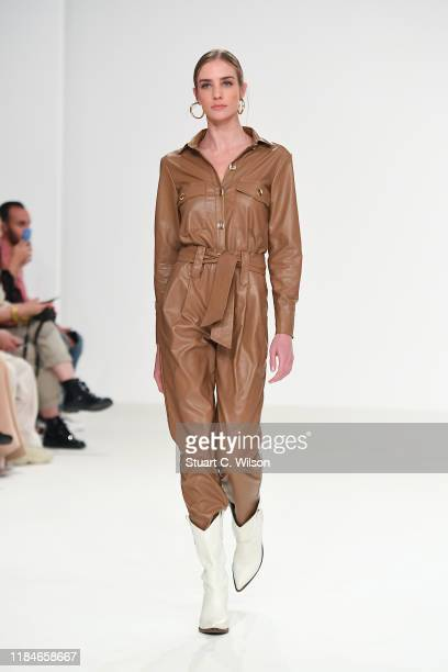 A model walks the runway at the Jessica K show during the FFWD October Edition 2019 at the Dubai Design District on October 31 2019 in Dubai United...