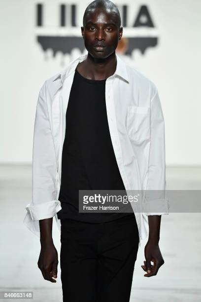A model walks the runway at the Jia Liu fashion show during New York Fashion Week The Shows at Gallery 2 Skylight Clarkson Sq on September 13 2017 in...