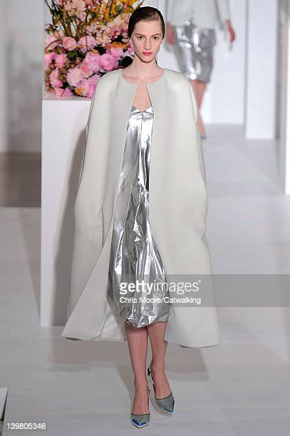 Model walks the runway at the Jil Sander Autumn Winter 2012 fashion show during Milan Fashion Week on February 25, 2012 in Milan, Italy.