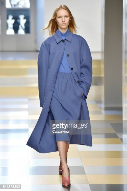 A model walks the runway at the Jil Sander Autumn Winter 2017 fashion show during Milan Fashion Week on February 25 2017 in Milan Italy