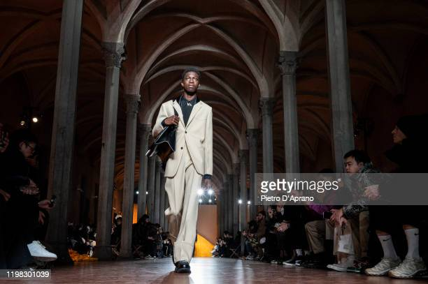 Model walks the runway at the Jil Sander fashion show during Pitti Immagine Uomo 97 at Fortezza Da Basso on January 08, 2020 in Florence, Italy.