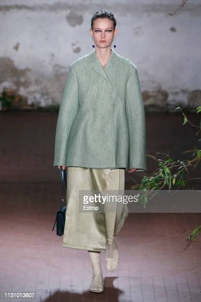 Model walks the runway at the Jil Sander show at Milan Fashion Week Autumn/Winter 2019/20 on February 20, 2019 in Milan, Italy.