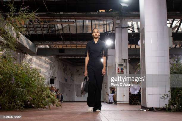 A model walks the runway at the Jil Sander show during Milan Fashion Week Spring/Summer 2019 on September 19 2018 in Milan Italy