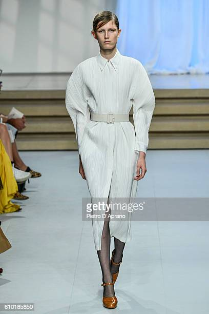 A model walks the runway at the Jil Sander show during Milan Fashion Week Spring/Summer 2017 on September 24 2016 in Milan Italy