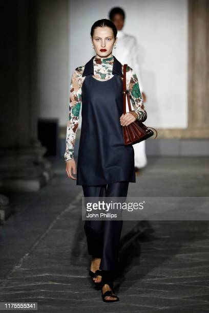 Model walks the runway at the Jil Sander show during the Milan Fashion Week Spring/Summer 2020 on September 18, 2019 in Milan, Italy.