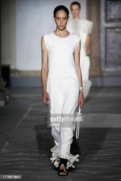 Model walks the runway at the Jil Sander show during the Milan Fashion Week Spring/Summer 2020 on September 18, 2019 in Milan, Italy.