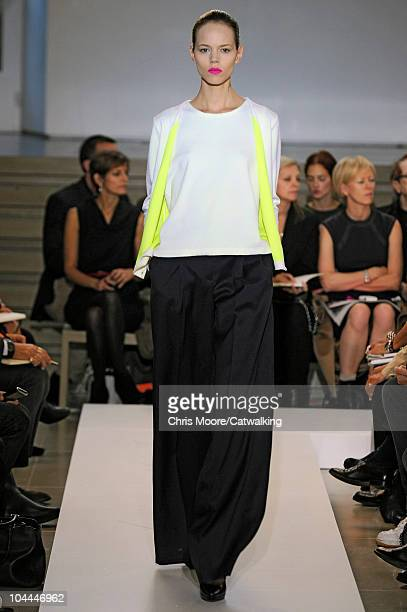 A model walks the runway at the Jil Sander Spring Summer 2011 fashion show during Milan Fashion Week at on September 25 2010 in Milan City