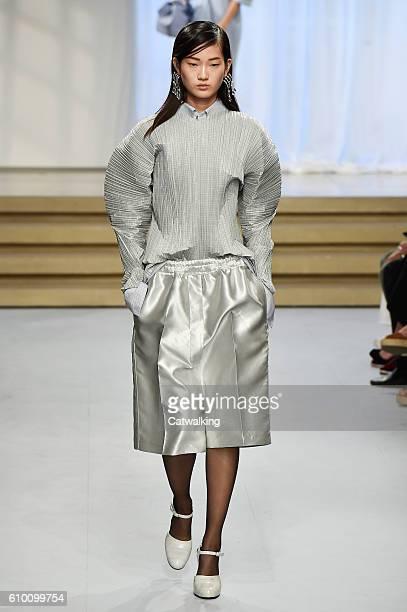 Model walks the runway at the Jil Sander Spring Summer 2017 fashion show during Milan Fashion Week on September 24, 2016 in Milan, Italy.