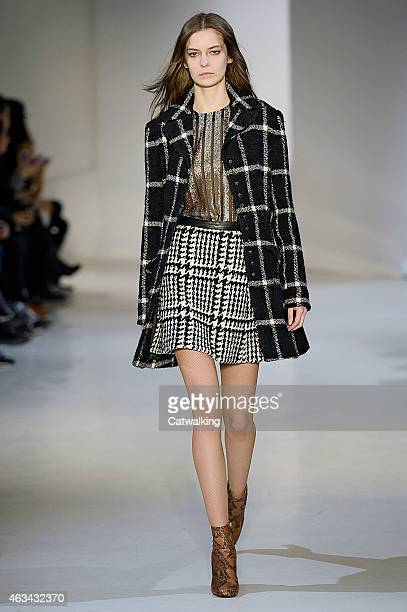 A model walks the runway at the Jill Stuart Autumn Winter 2015 fashion show during New York Fashion Week on February 14 2015 in New York United States