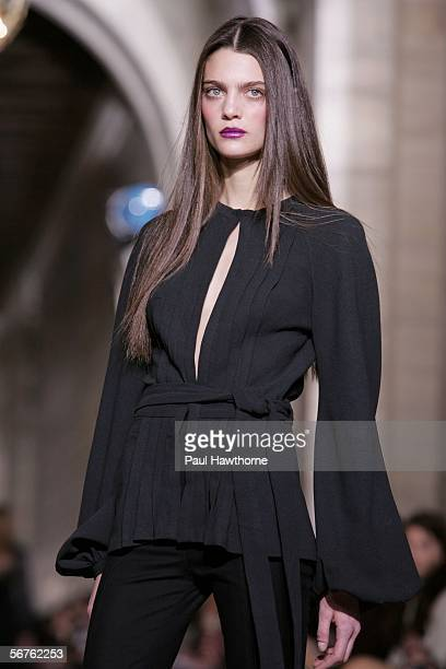 A model walks the runway at the Jill Stuart Fall 2006 fashion show at the New York Public Library during Olympus Fashion Week on February 6 2006 in...