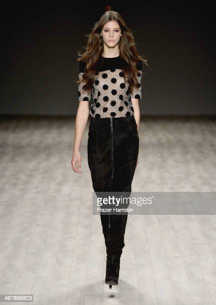 A model walks the runway at the Jill Stuart fashion show during MercedesBenz Fashion Week Fall 2014 at Lincoln Center on February 8 2014 in New York...