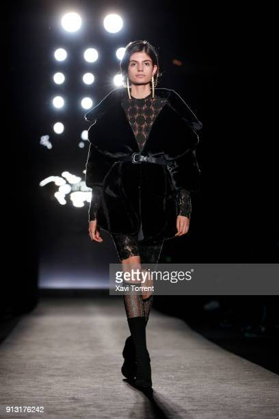 A model walks the runway at the Jinksieminks show during the Barcelona 080 Fashion Week on February 1 2018 in Barcelona Spain