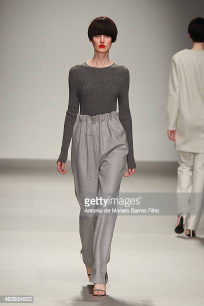 A model walks the runway at the JJS Lee show during London Fashion Week Fall/Winter 2015/16 at Somerset House on February 20 2015 in London England
