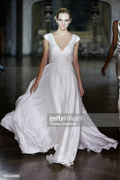 A model walks the runway at the Johanna Johnson Fall 2014 Bridal collection show on October 13 2013 in New York City