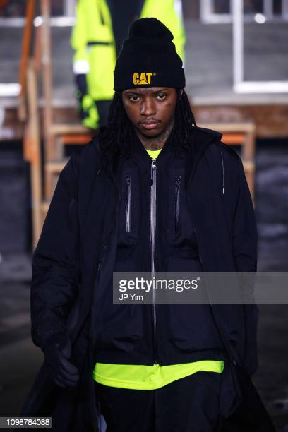 Model walks the runway at the John Elliott Fall/Winter 2019 Collection at FULLSTACK MODULAR on February 9, 2019 in New York City.
