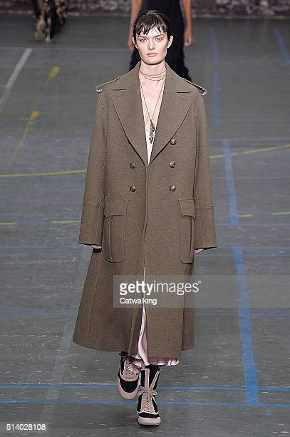A model walks the runway at the John Galliano Autumn Winter 2016 fashion show during Paris Fashion Week on March 6 2016 in Paris France