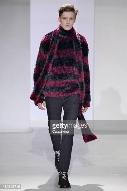 Model walks the runway at the John Lawrence Sullivan Autumn Winter 2014 fashion show during Paris Menswear Fashion Week on January 15, 2014 in Paris,...