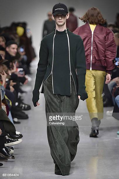 A model walks the runway at the John Lawrence Sullivan Autumn Winter 2017 fashion show during London Menswear Fashion Week on January 9 2017 in...