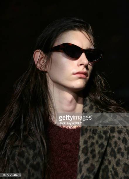 Model walks the runway at the John Lawrence Sullivan show during London Fashion Week Men's January 2019 at Kachette on January 5, 2019 in London,...