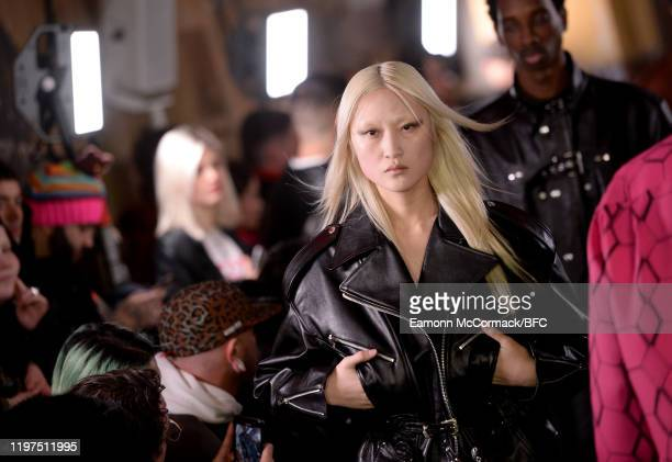 Model walks the runway at the John Lawrence Sullivan show during London Fashion Week Men's January 2020 on January 04, 2020 in London, England.
