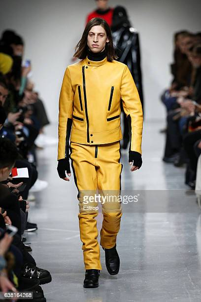 A model walks the runway at the John Lawrence Sullivan show during London Fashion Week Men's January 2017 collections at BFC Show Space on January 9...