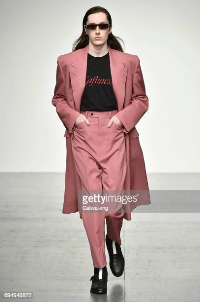 Model walks the runway at the John Lawrence Sullivan Show Spring Summer 2018 fashion show during London Menswear Fashion Week on June 11, 2017 in...