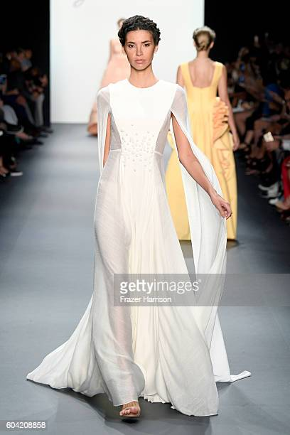 A model walks the runway at the John Paul Ataker fashion show during New York Fashion Week The Shows at The Dock Skylight at Moynihan Station on...