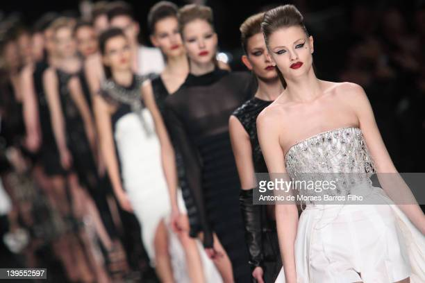 Model walks the runway at the John Richmond Autumn/Winter 2012/2013 fashion show as part of Milan Womenswear Fashion Week at on January 16, 2012 in...