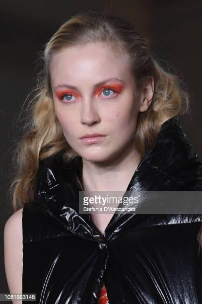 Model walks the runway at the John Richmond show during Milan Menswear Fashion Week Autumn/Winter 2019/20 on January 13, 2019 in Milan, Italy.