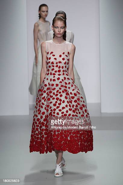 A model walks the runway at the John Rocha show during London Fashion Week SS14 at BFC Courtyard Showspace on September 14 2013 in London England