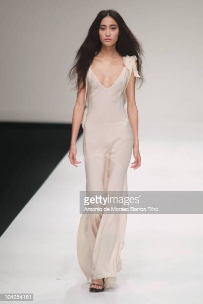 A model walks the runway at the John Rocha S/S 2011 show at London Fashion Week at Somerset House on September 18 2010 in London England