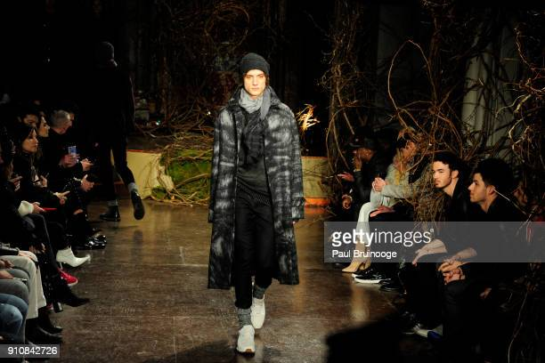 Model walks the runway at the John Varvatos Fall/Winter 2018 Show at The Angel Orensanz Foundation on January 26 2018 in New York City