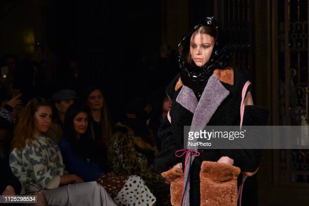 A model walks the runway at the Jolin Wu show during London Fashion Week February 2019 at the Freemasons Hall on February 16 2019 in London England