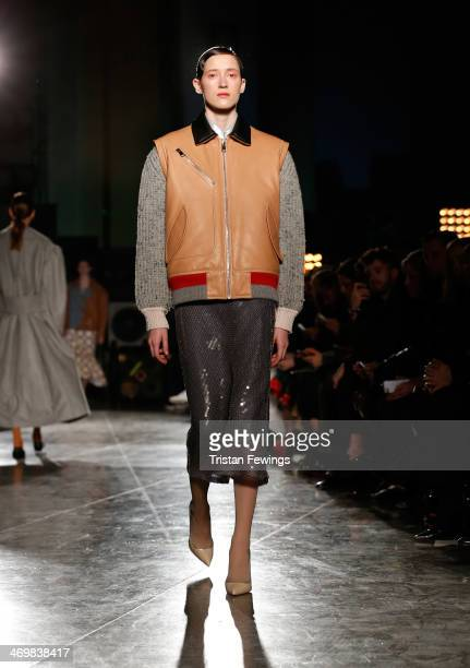 Model walks the runway at the Jonathan Saunders show at Tate Britain at London Fashion Week AW14 at on February 16, 2014 in London, England.