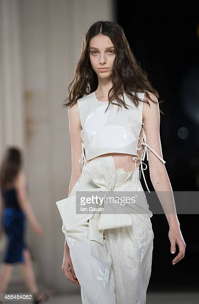 A model walks the runway at the Jonathan Saunders show during London Fashion Week Spring Summer 2015 on September 14 2014 in London England