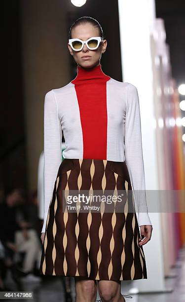 A model walks the runway at the Jonathan Saunders show during London Fashion Week Fall/Winter 2015/16 at TopShop Show Space on February 22 2015 in...