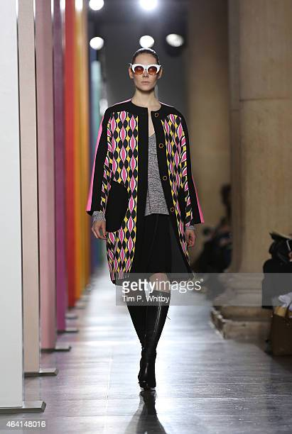 Model walks the runway at the Jonathan Saunders show during London Fashion Week Fall/Winter 2015/16 at TopShop Show Space on February 22, 2015 in...