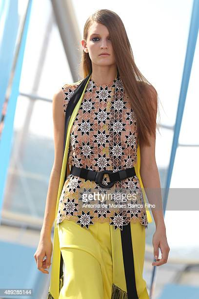 A model walks the runway at the Jonathan Saunders show during London Fashion Week Spring/Summer 2016/17 on September 20 2015 in London England