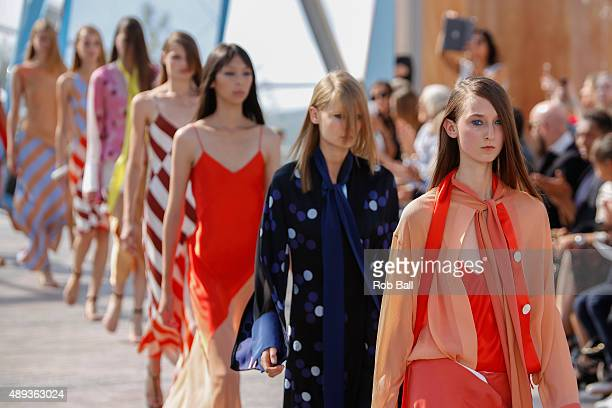 Model walks the runway at the Jonathan Saunders show during London Fashion Week Spring/Summer 2016/17 on September 20, 2015 in London, England.