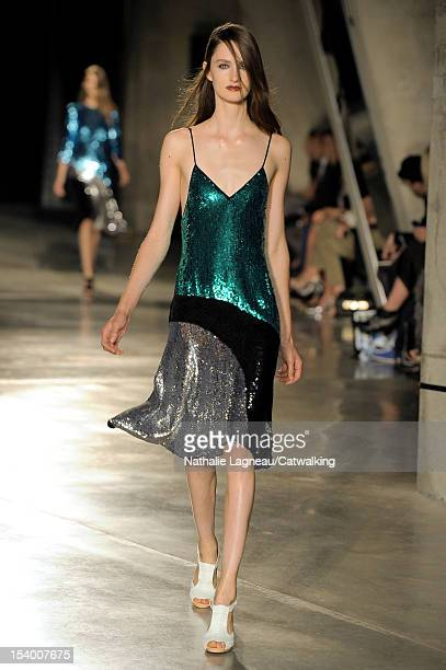 Model walks the runway at the Jonathan Saunders Spring Summer 2013 fashion show during London Fashion Week on September 16, 2012 in London, United...