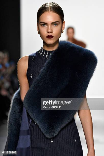 A model walks the runway at the Jonathan Simkhai fashion show during New York Fashion Week Fall Winter 20172018 on February 11 2017 in New York City