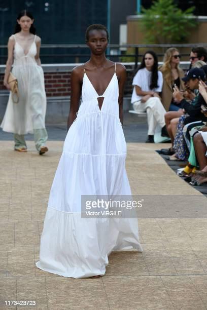 Model walks the runway at the Jonathan Simkhai Ready to Wear Spring/Summer 2020 fashion show during New York Fashion Week on September 09, 2019 in...