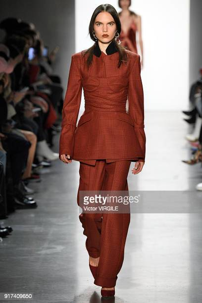 A model walks the runway at the Jonathan Simkhai Ready to Wear Fall/Winter 20182019 fashion show during New York Fashion Week on February 10 2018 in...